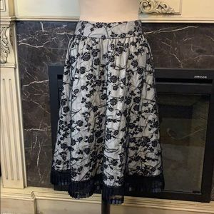 For The Republic black rose velvet net full skirt